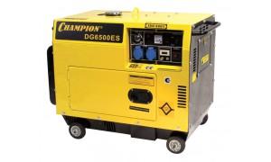 Генератор диз. CHAMPION DG6500ES (5/5,5Квт 8,5лс 15л 145кг 1,4л/ч 12V эл.старт колеса счетчик)